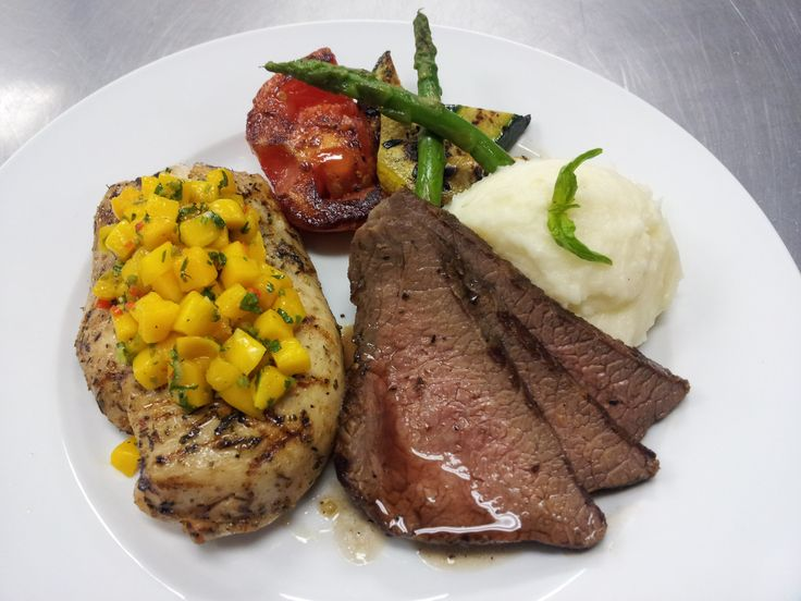 Wood Fired Tri Tip, Mango Chicken Breast, Garlic Mashed Potatoes, and Grilled Vegetables #food #tritip #mango #mangosalsa #chicken #mashedpotatoes #garlicmashedpotatoes #vegetables #zucchini #yellowsquash #brusselsprouts #tomatoes #asparagus #grilled #roasted #meal #protein #goodeats #yummy #foodphotography #delicious #tasty #awesome