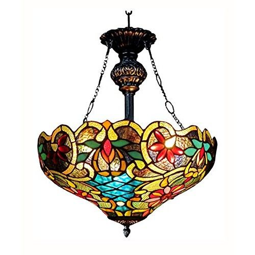 Chloe Lighting CH1A674VB18-UH2 Leslie Tiffany Style Victorian 2 Light Inverted Ceiling Pendent with 18-Inch Shade, Multi Colored