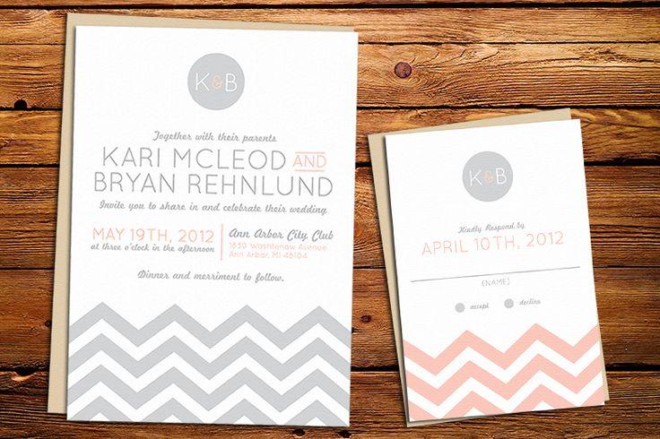 wedding invite sets   chevron wedding invitation : Kxo Design   Custom Wedding Invitations ...