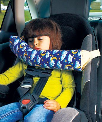 $18.95-$24.95 Baby Children's Travel Pillow is a smart solution that helps kids of all ages sleep safely and comfortably on long trips in the car or on an airplane. Unique to the market, this innovative travel pillow is specifically designed to keep a child's head from falling forward or side-to-side when asleep in a car seat. Simply attach the pillow to the seat belt guides on any forward-facin ...