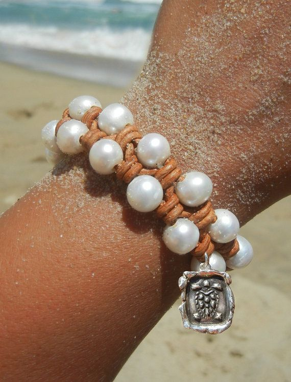 """""""Love this bracelet. Leather and pearls are equally soft on the skin."""" #5StarReview #Testimonial on HappyGoLicky Jewelry Leather & Pearl Bracelet #LeatherJewelry"""