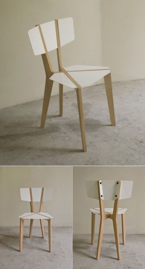 Naked: Beautiful structural lines in a light weight chair which folds flat.