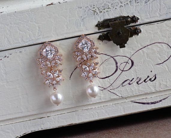 Rose Gold Crystal Earrings Crystal & Ivory by JamBridalAccessories