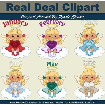Birthstone Angels Blonde. These beautiful birthstone angel graphics come in png format. This set includes the 6 angels pictured in the preview. Our clipart comes ready for instant download after purchase!