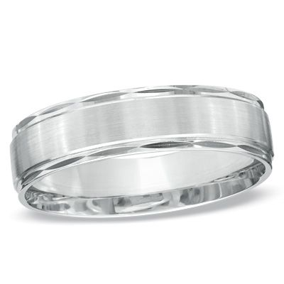 Mens Satin Stripe Wedding Band In White Gold
