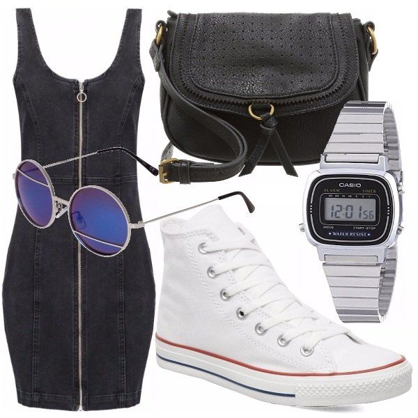 Abito in jeans abbinato a scarpe converse bianche che sono il must della stagione e rendono l'outfit comodo e sportivo. Tracolla nera in pelle occhiali a specchio e l'immancabile casio vintage.