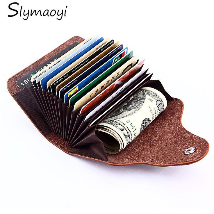 Slymaoyi Unisex Couro Genuíno Titular do Cartão de Carteiras de Alta Qualidade Titulares de Cartão de Crédito Fêmea Mulheres Travesseiro Bolsa Organizador