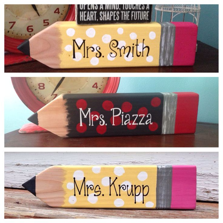 Pencil Name tag - name sign - teacher - school - teacher's desk   https://www.etsy.com/listing/200287917/pencil-teacher-name-sign  Www.facebook.com/fornamesakes