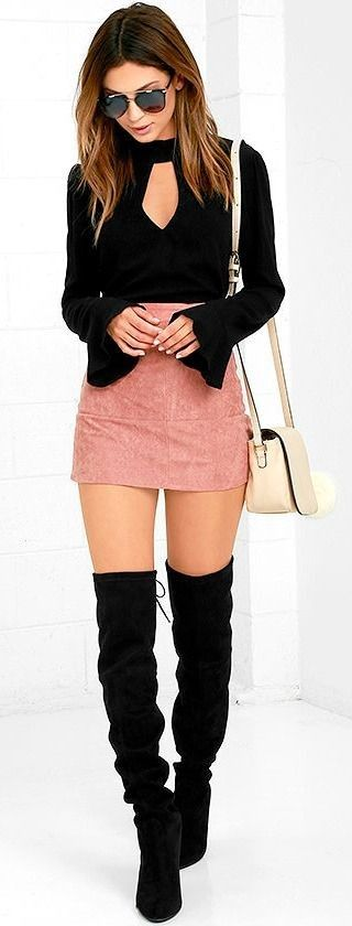 A blush suede mini with a black bell sleevetop, black OTK boots, and an ivory colored shoulder bag for warmer weekend bars & parties.