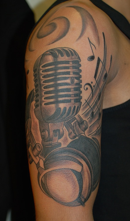 Old Fashioned Microphone Tattoo Designs