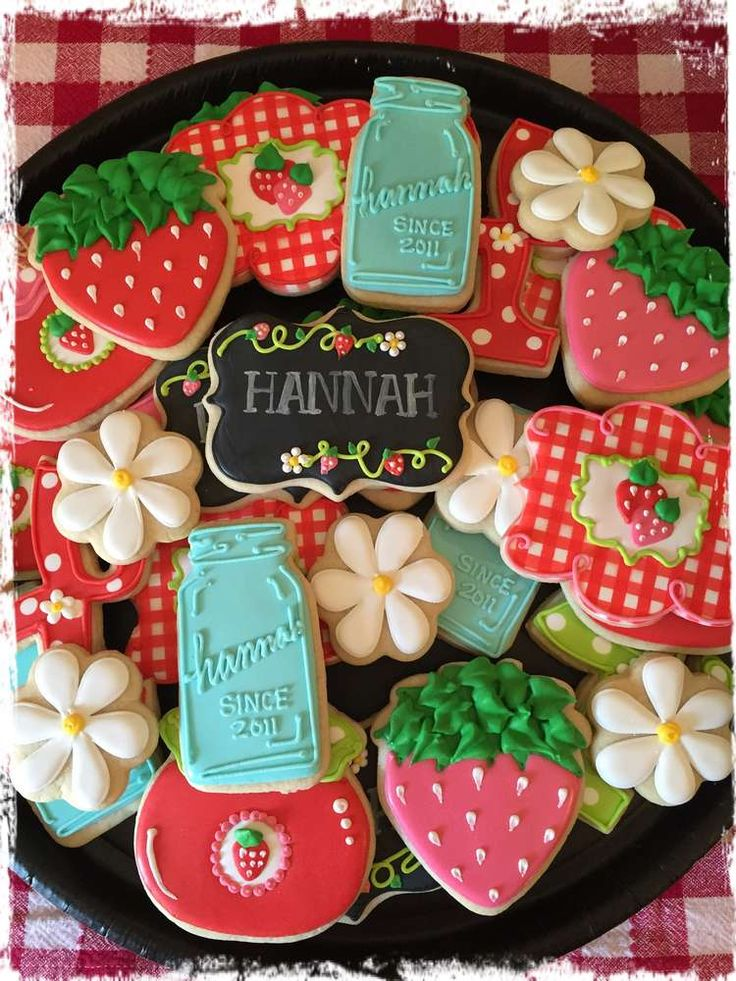 Fantastic cookies at a strawberry birthday party! See more party planning ideas at CatchMyParty.com!