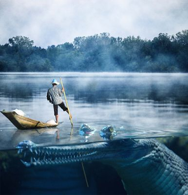 the giant of crocodile in lake.. #photoshop #manipulation