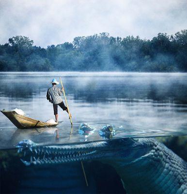 the giant of crocodile in lake.. #photoshop #manipulation