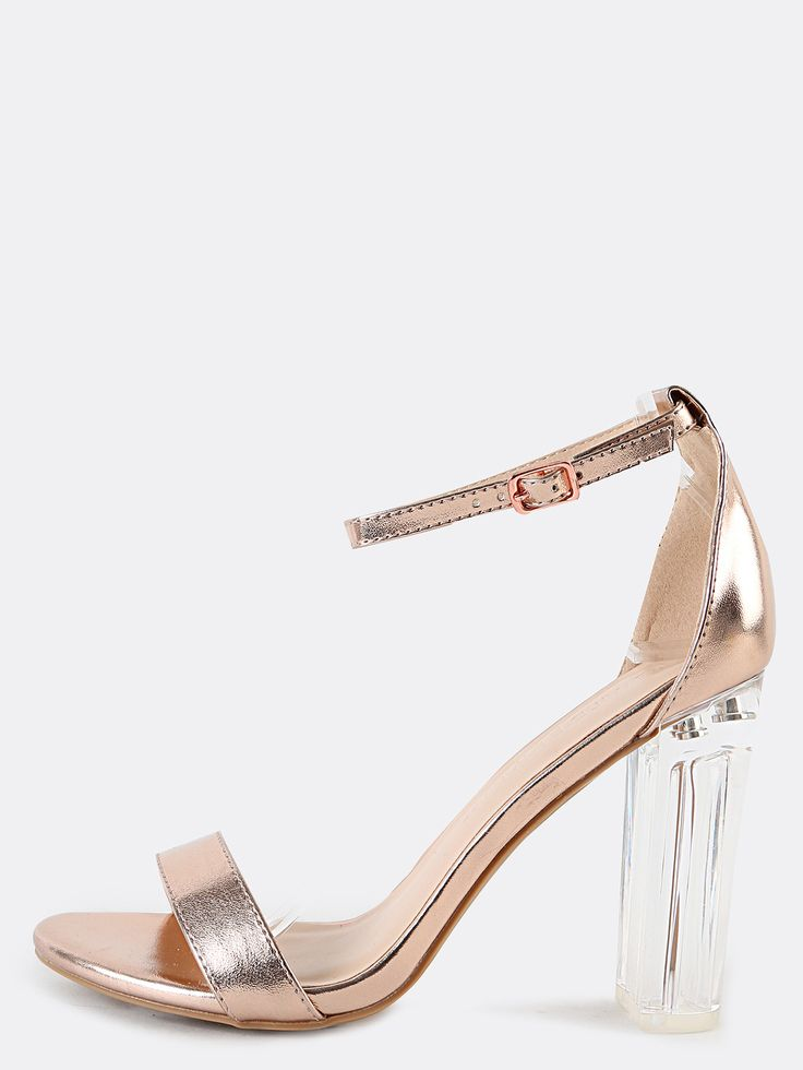 Rose+Gold+Ankle+Strap+Clear+High+Heels+Sandals+28.90