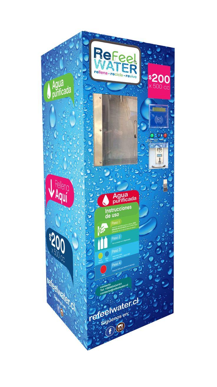 Máquina Modelo Compacto, diseñado para la venta de volúmenes de 0.5 a 1 litro de agua purificada. Ideal para sectores de alta circulación (pasillos, áreas de servicio, patios de comida).
