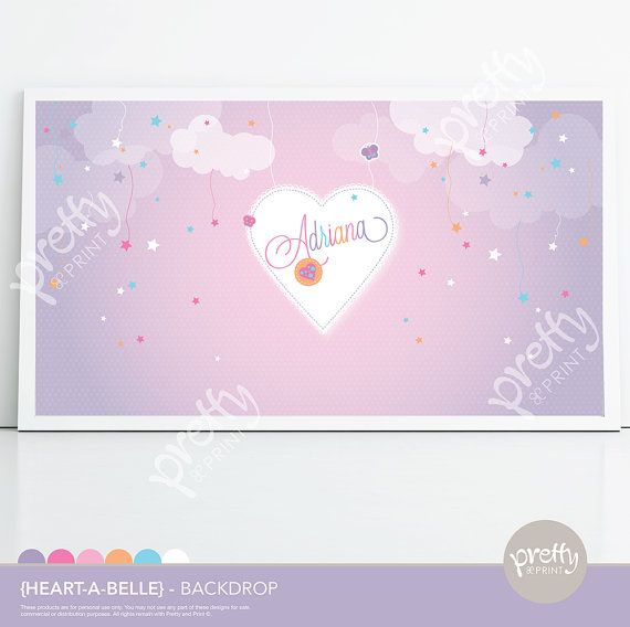 Printable Dessert Table Party Backdrop Hootabelle Giggle and Hoot Heart Clouds Button www.prettyandprint.com/blog www.etsy.com/shop/prettyandprintwww.etsy.com/shop/prettyandprint #printablebackdrop