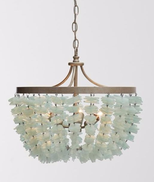 green sea glass chandelier from pottery barn featured on completely coastal beautiful focal point