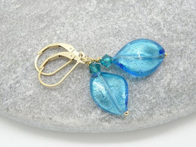Murano Glass Earrings, Aqua Blue Earrings, Leaf Earrings, Venetian Glass Earring £21.50