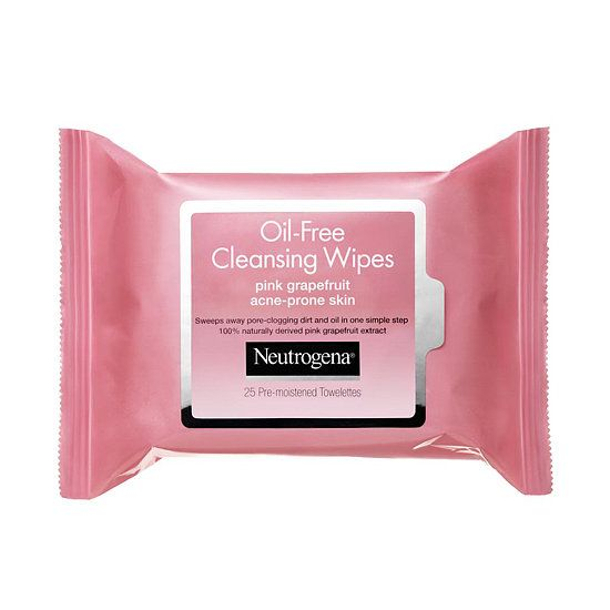 Face Wipes: Acne-prone skin needs a little more TLC than the average complexion, and Neutrogena's Oil-Free Cleansing Wipes in Pink Grapefruit ($6) help to remove dirt and oil that can lead to breakouts. Plus, the invigorating grapefruit scent leaves you feeling extrarefreshed.