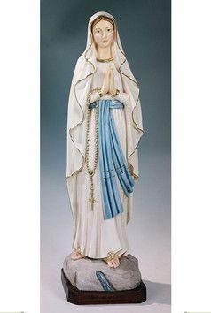 Statua Madonna di Lourdes cm. 80 altezza cm. 80 in resina e polvere di marmo disponibile anche nel colore bianco  http://www.ovunqueproteggimi.com/collezione-statue/madonne/lourdes/