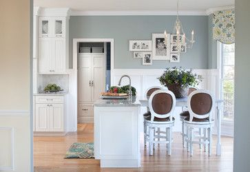 Wall color is Benjamin Moore Mount Saint Anne. Gorgeous blue gray. Hartley & Hill Design, LLC