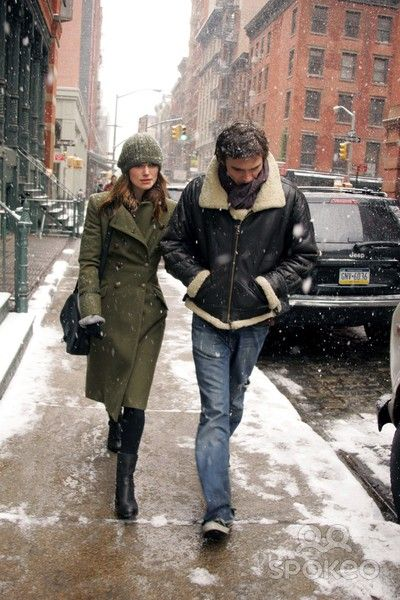 Keira Knightley and her ex Rupert Friend during a snow storm in NYC.......