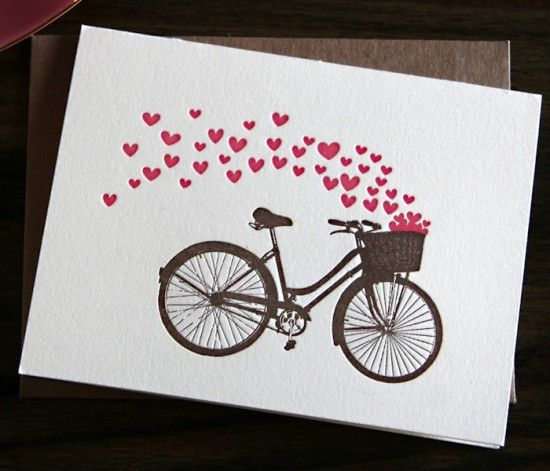 Vintage bike and hearts...could be easily made using a vintage bike image and several hearts with the Cricut machine!