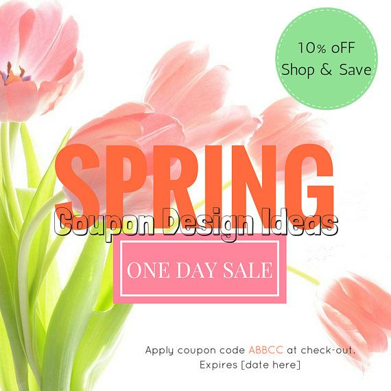Attract customers to your one day sale event with this tulip coupon design.