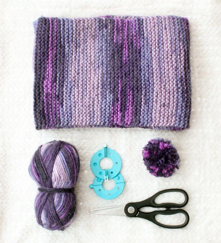 DIY | paarse sjaal met pompoms