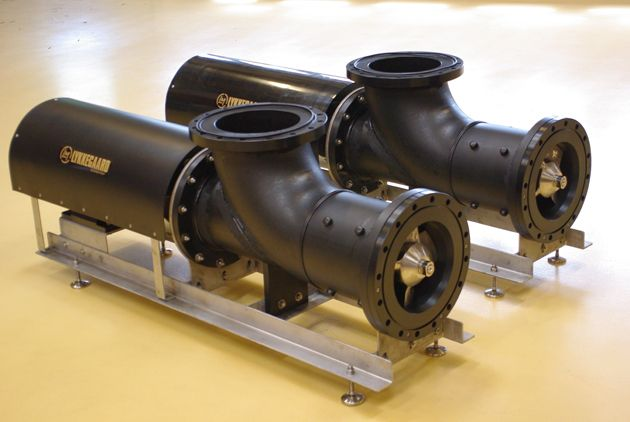 Low head horizontal propeller pump in HDPE for use in seawater from Lykkegaard A/S