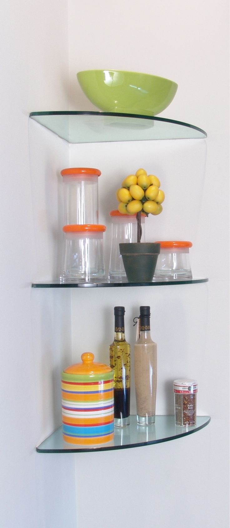 25 best ideas about floating glass shelves on pinterest - Glass corner shelf for living room ...