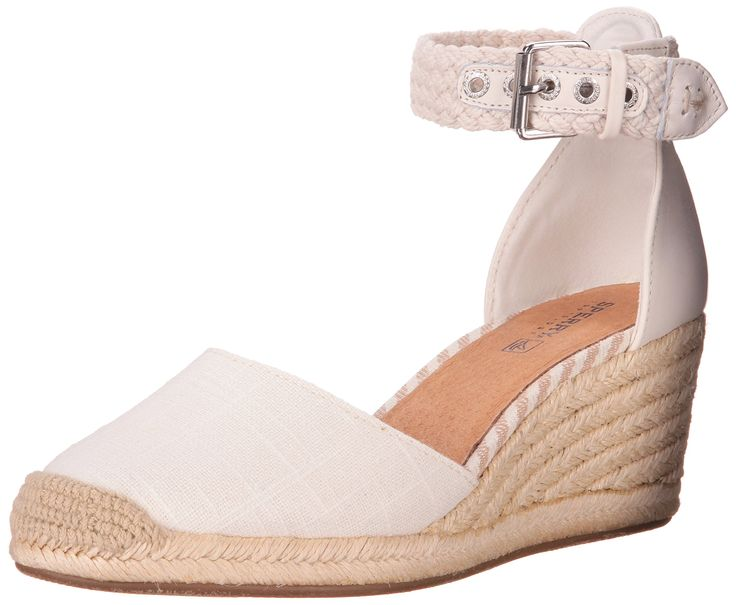Sperry Top-Sider Women's Valencia Wedge Pump, Ivory, 7.5 M US. Nautical wedge in espadrille-inspired design featuring jute-covered midsole and braided ankle strap. Buckle closure at ankle.