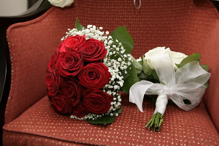 Large red roses and baby's breath