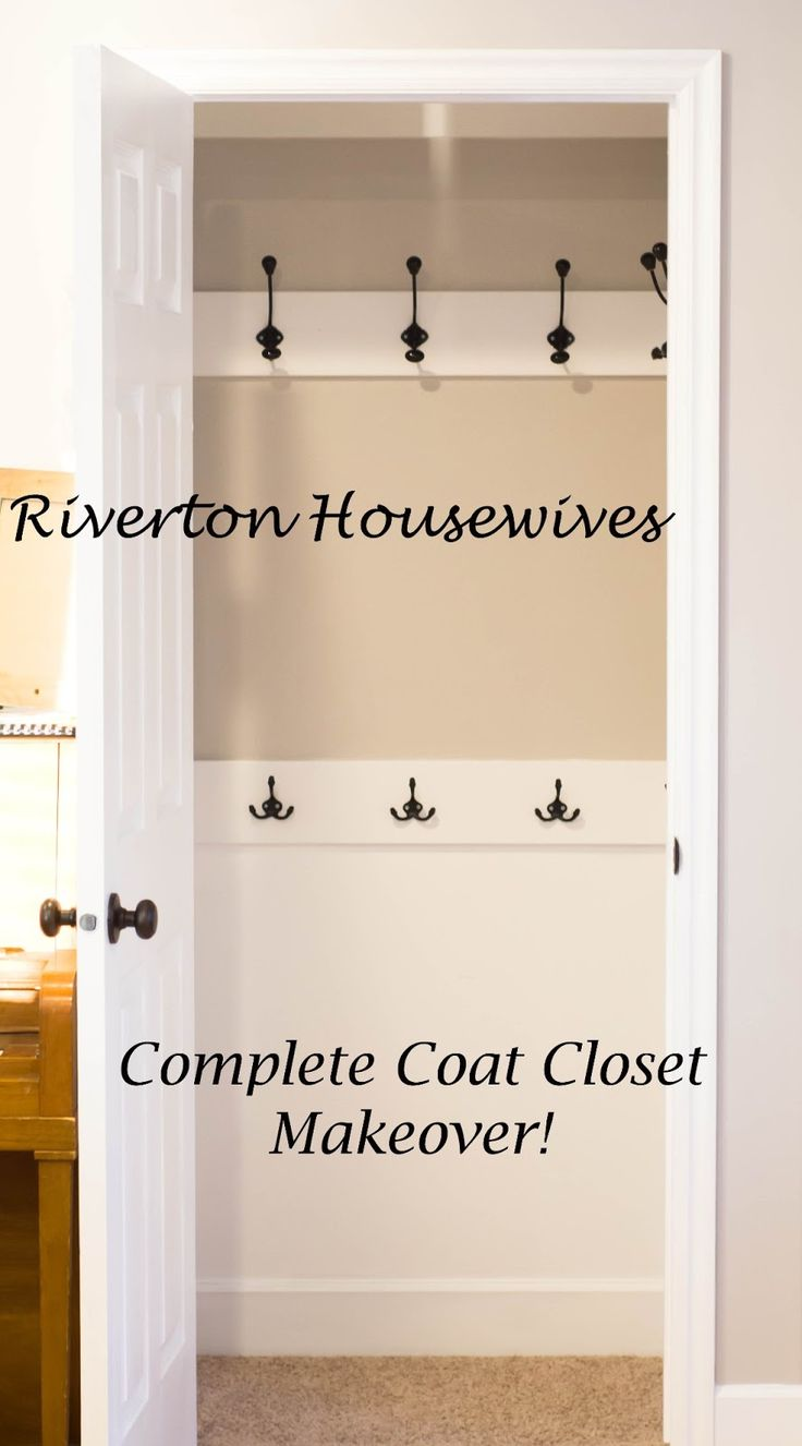 Coat Closet Makeover, tutorial. This is my goal for my hall closet right inside the front door!!!!! Time to check out Hobby Lobby's hooks and hangers!