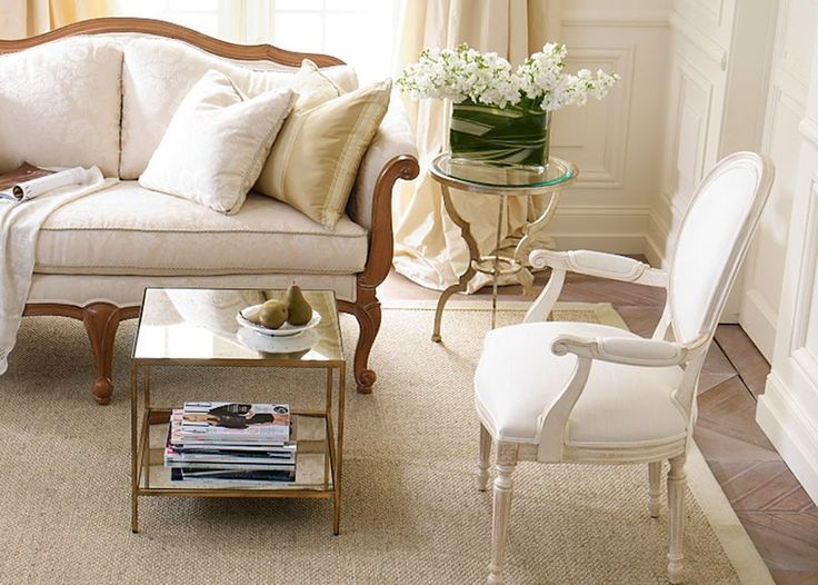 Elaborate seating décor can be paired nicely with simple side tables.