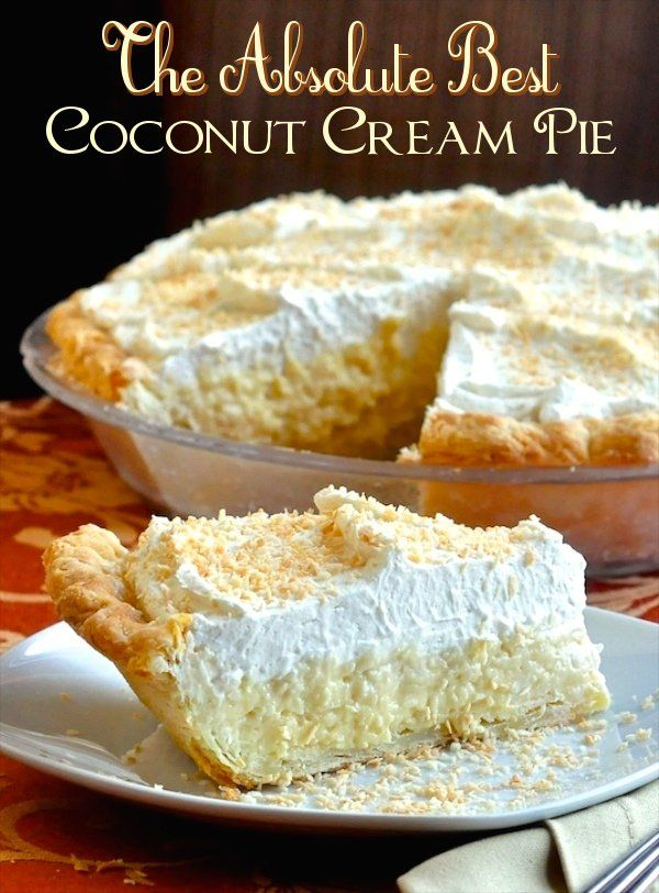 Coconut custard pie, Peanut butter cream pie and Apple pies