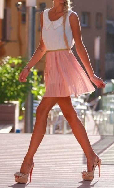 Fresh Summer style: pink pleated skirt and white Sleeveless blouse with cute collar detail. Street style fashion
