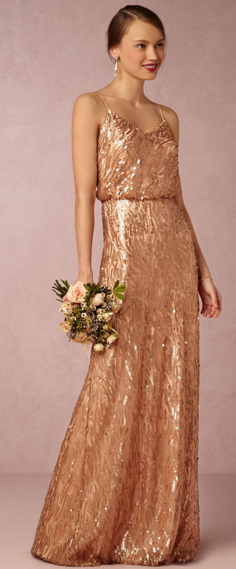 Copper colored bridesmaid dresses