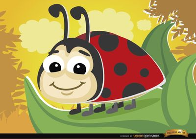 Cartoon ladybug on a leaf. It's a cool vector to use as a mascot in campaigns, promos, or in stories for kids. High quality JPG included. Under Commons 4.0. Attribution License.