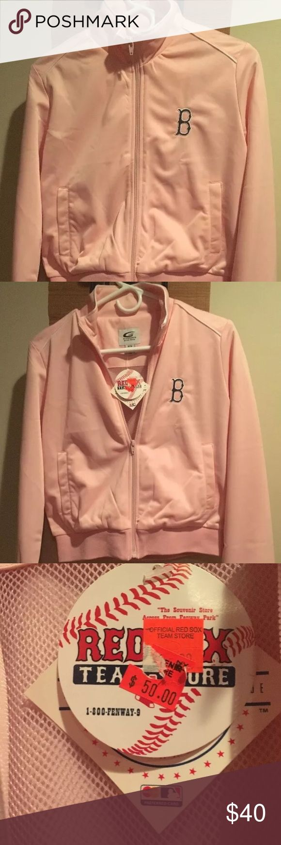 Pink MLB Red Sox track jacket NWT! MLB Red Sox Light pink zip up track jacket. Jacket has tags . Does have a small black mark on the bottom of jacket (see picture ) but not noticeable. Never worn. Too small . Jackets & Coats