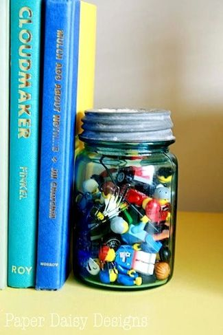 mason jar bookend with old toys living room pinterest