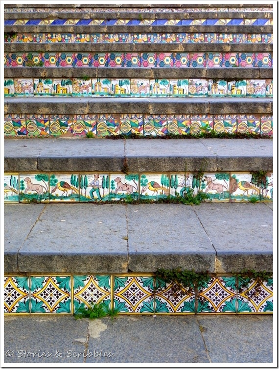 Caltagirone, Sicily...The  most spectacular and striking display of ceramics is La Scala Santa Maria del Monte ( the staircase) La Scala consists of 142 steps that join the upper and lower parts of the town. Each step is decorated with tiles painted in a different motif.