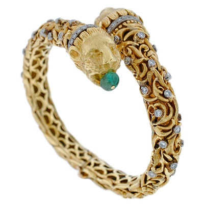 A Brandt and Son - Vintage Signed Zolotas 18kt Emerald & Diam Lion Bracelet