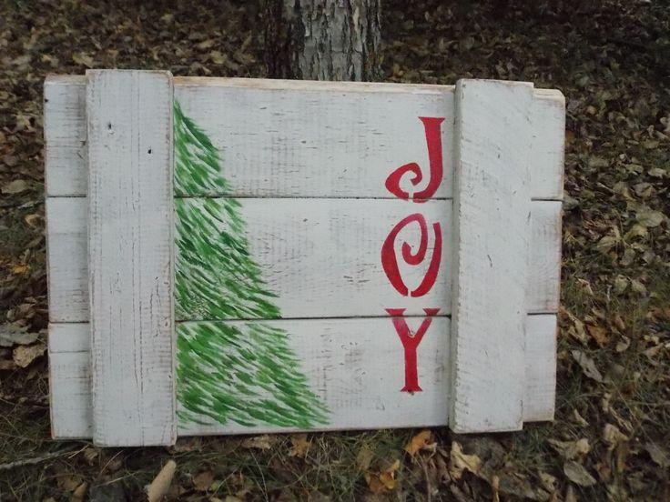 """""""Joy"""" Reclaimed pallet board sign."""