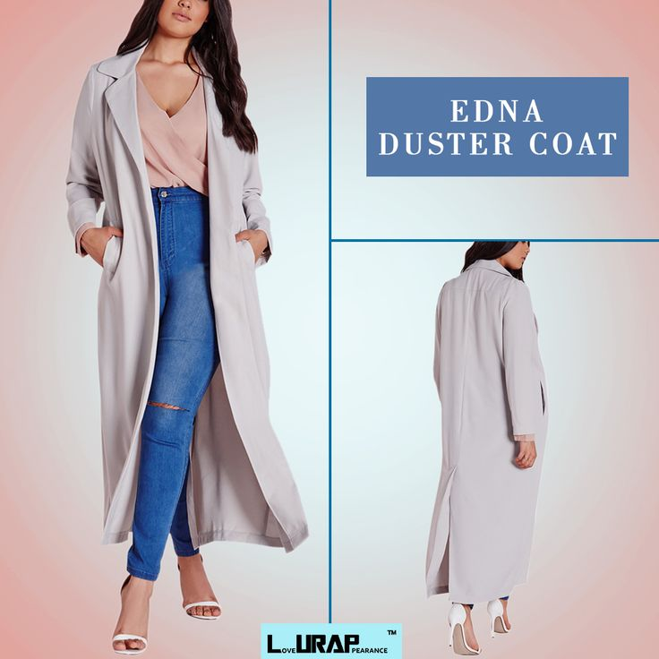 Grey Edna Duster Coat -  Add a lid to your style fascia by wearing this duster coat at work.  duster coat outfit , duster coat women , duster coat women jackets , duster coat women shops , duster coat women winter , duster coat women outfit , duster coat women clothing , Custom Made Duster Coat , Plus Size Duster Coat