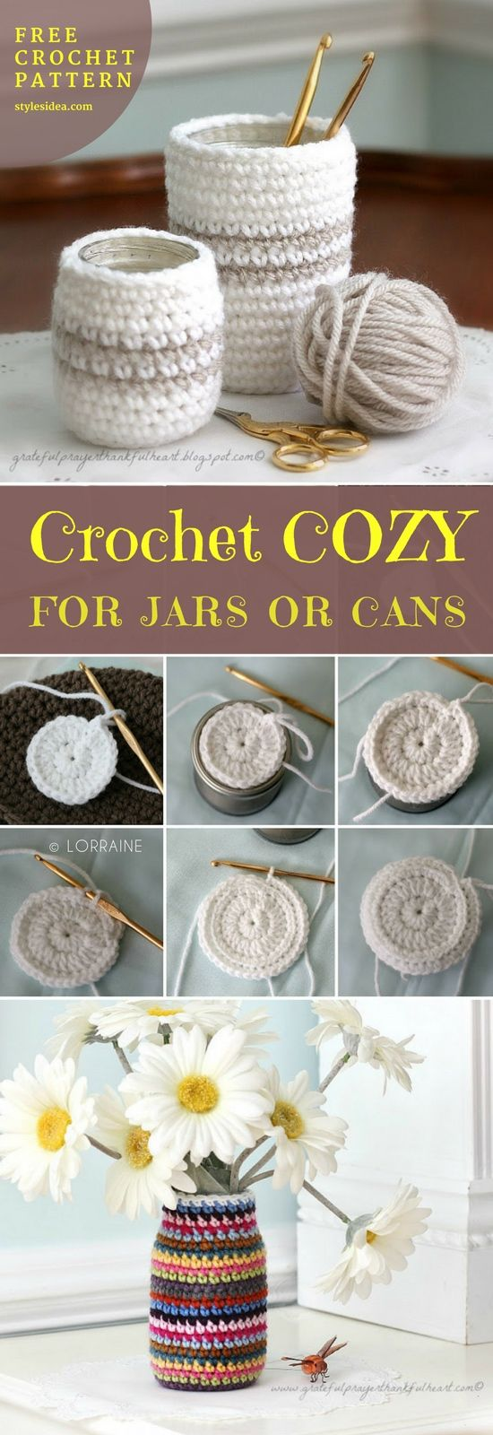 #crochetCozyCan or Jar #FreeCrochetPattern #CrochetforHome Decor | size: any | Written | US Terms Level: beginner yarn: Lily Sugar and Cream Key Lime Pie or baby wool hook: 5 mm (G) materials: scissors Author: By Lorraine st – Stitch hdc – half double crochet sl – slip stitch sc – single crochet