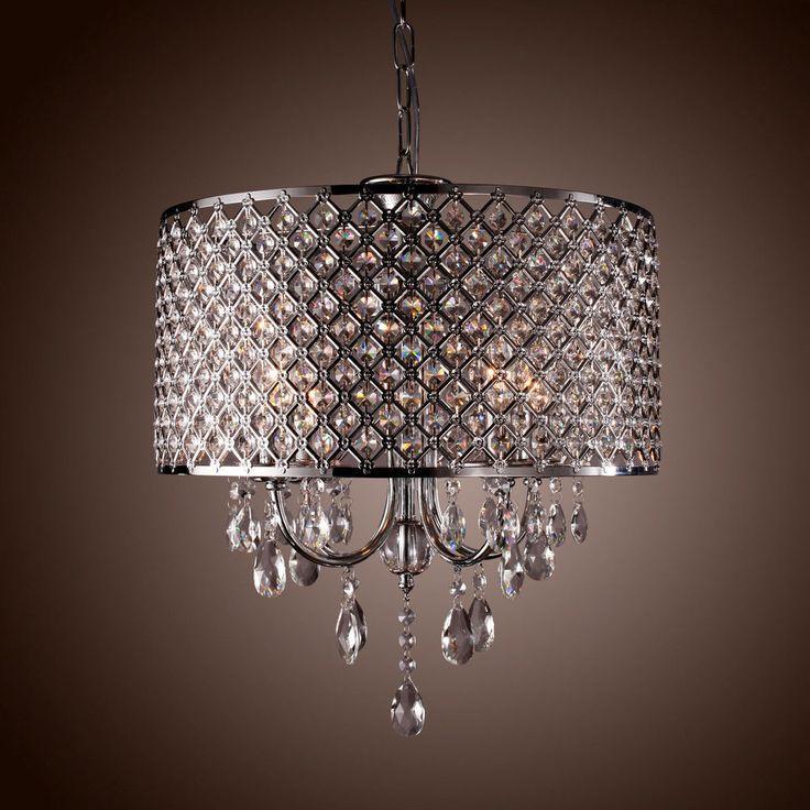 Drum Crystal Chandelier Modern 4 Lights Shade Pendant Lamp Living /Dining/Bedroom Part 81