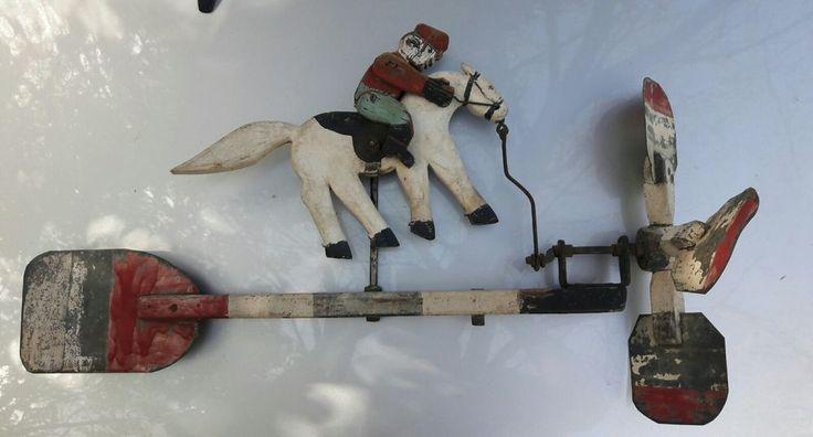Antique Weathervane Weather vane Whirlygig whirligig  Whirly Gig  MAN ON HORSE