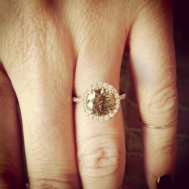 My custom engagement ring - Vintage fancy brown diamond (champagne diamond) set in rose gold + midi gold pinky ring by @Jennifer Fisher