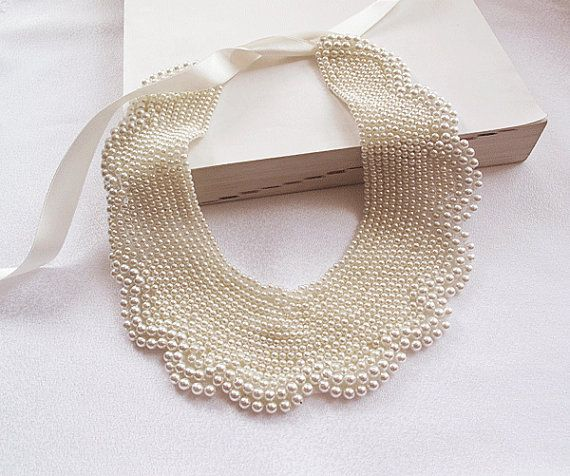 ivory pearl collar necklace-Peter Pan Collar Necklace-embroidered handmade pearl